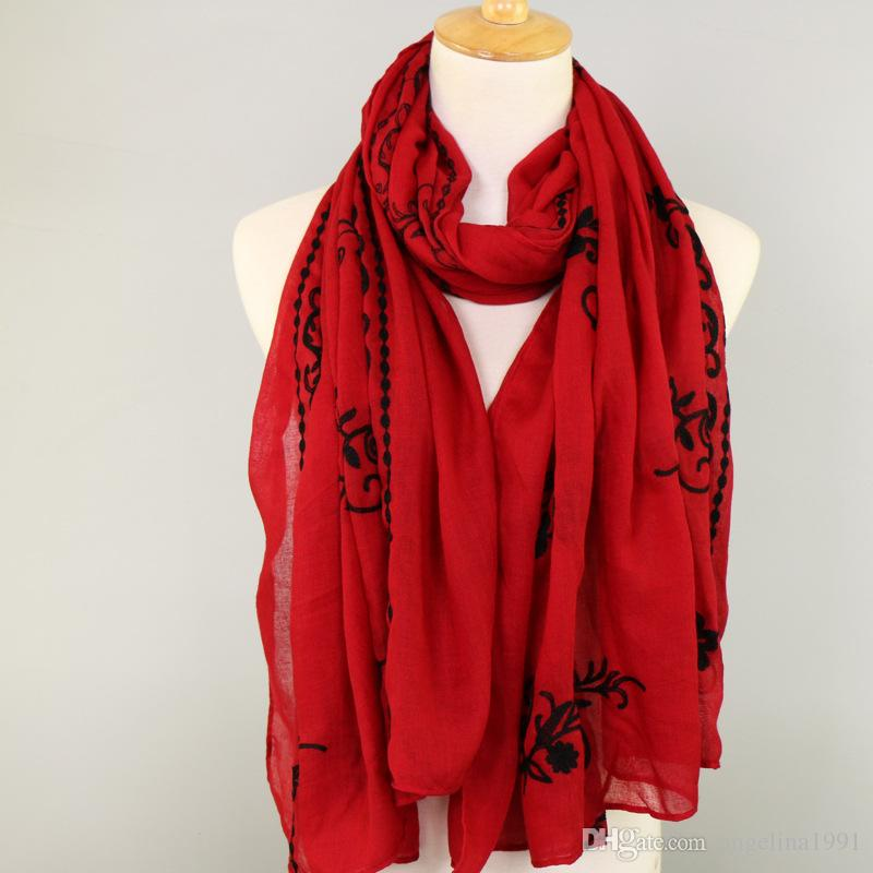 Women fashion embroider floral cotton shawls hijab summer popular wrap head muslim Muffler scarves/scarf 180*90cm