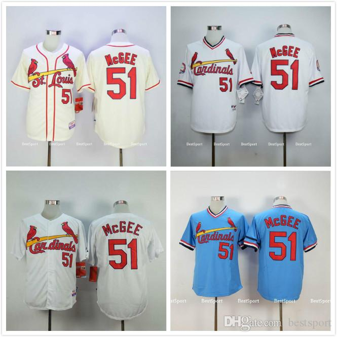 06c48a147c6 ... 51 Willie Mcgee Jersey White Home Cream 1982 1985 Blue Womens Majestic  St. Louis Cardinals 51 Willie McGee Replica Cream Alternate Cool Base MLB  ...