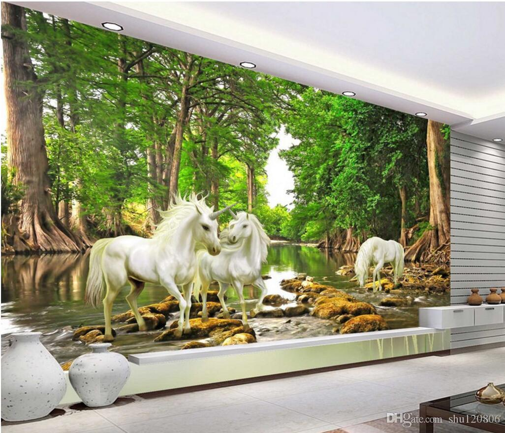 3d room wallpaper custom photo mural forest river unicorn scenery 3d room wallpaper custom photo mural forest river unicorn scenery home decor painting picture 3d wall murals wallpaper for walls 3 d wallpapers images