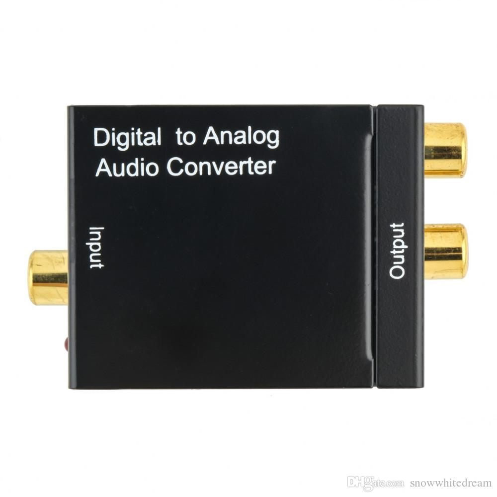 Digitales optisches koaxiales Toslink-Signal zum analogen Audio-Konverter-Adapter EU-Stecker + Glasfaserkabel HMP_444