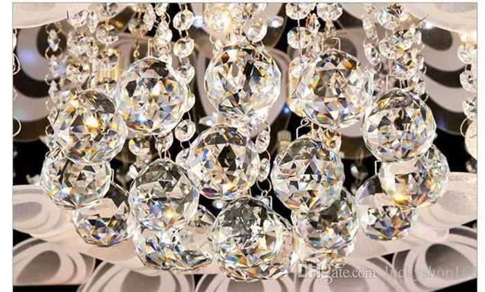 New Modern Round Crystal Chandeliers D80cm Flush Mount Ceiling Lamp E14 Led Stainless Steel Lustre Hanging Lights Fixtures Indoor Lighting