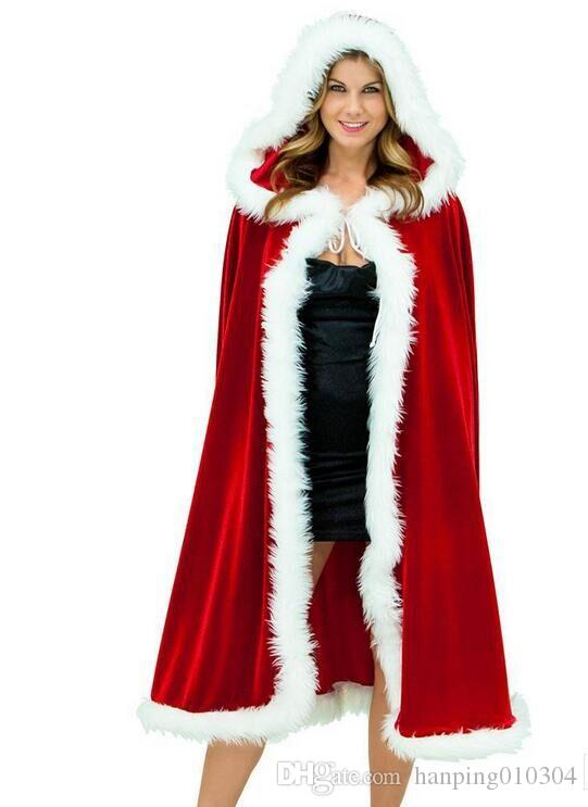 With Hood Coral Fleece Christmas Cape For Women Christmas Clothing ...