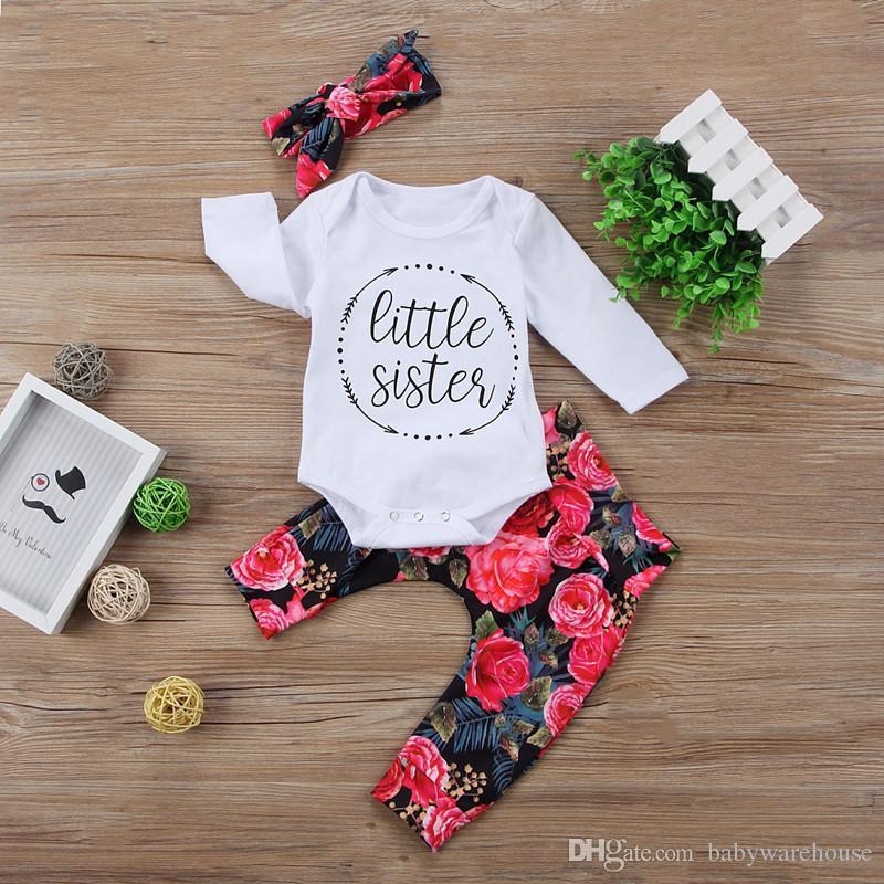 Bonito Do Bebê Meninas Roupas Definir Little Sister Carta Romper + Preto Peorry Calças + Headband Outfits Conjuntos de Roupas Crianças Boutique Outono