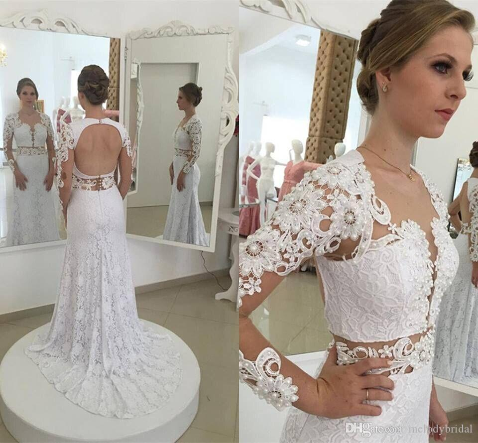 Mermaid Lace Appliqued Wedding Dresses Sexy Open Back Long