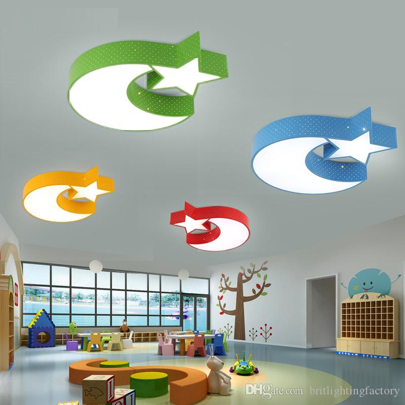 Stars Moon Children S Bedroom Lamps Warm Led Ceiling Amusement Parks Restaurants Dining Room Lights Fashion