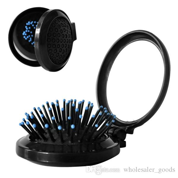 Hair Brush Combs Mirror Travel Folding Hair Brush With Mirror Pocket Size Comb Mini Portable Folding Health Massage Brush Hairbrush Comb