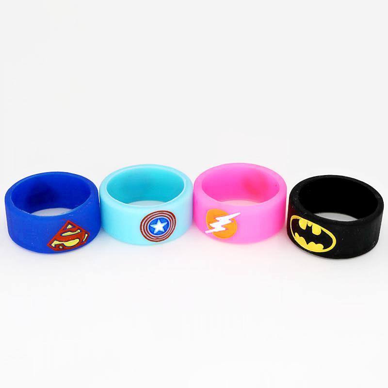 Superman Batman Captain America Flash DEADPOOL The Punisher Silicone Vape Band Silicon Beauty Decorative Ring for Glass Tanks Rda Vapor Mod