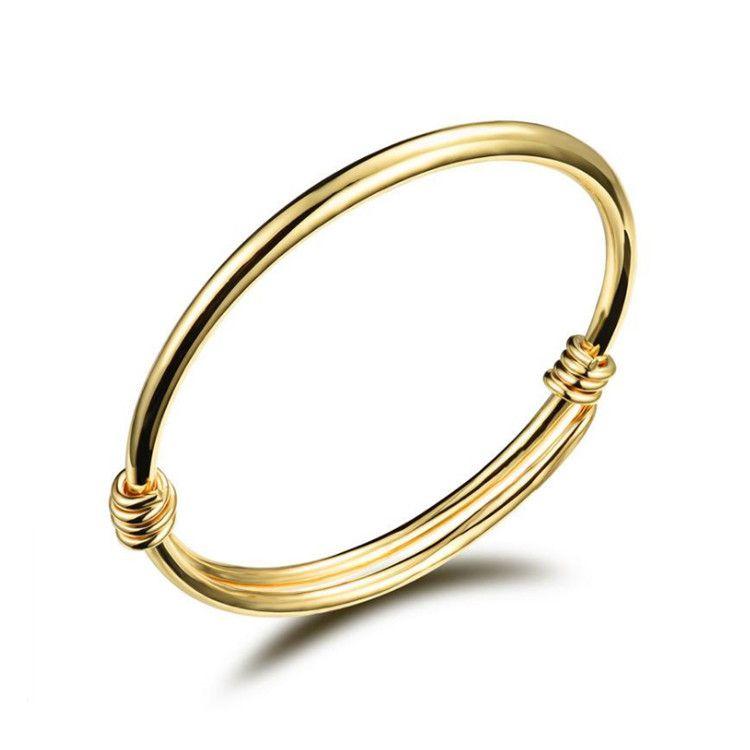 88d242b7558cf7 Mode 18 K Jaune Or Couleur Belle Enfants Enfant Garçon Fille Infantile Bébé  Bracelet Bracelet Cadeau Chanceux Date Bracelet pour Enfants