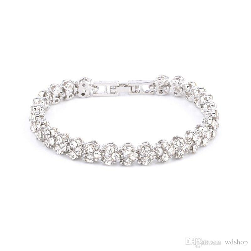 Luxury Roman Crystal Bracelet Fine Jewelry 16.5cm*7mm Silver Rose Gold Color Rhinestone Chain Bracelets For Women Gift