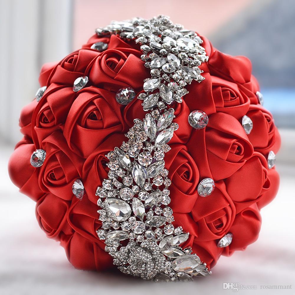 2019 Nouveau Cristal Broche Bouquet De Mariage Accessoires De Mariage Demoiselle D'honneur Artificielle Fleurs De Satin Fleurs De Mariage Bouquets De Mariée