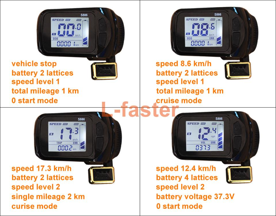 L-faster Electric Scooter Brushless Controller With S886 Thumb Throttle LCD Panel Electric Bike Hub Motor Controller LCD Thumb