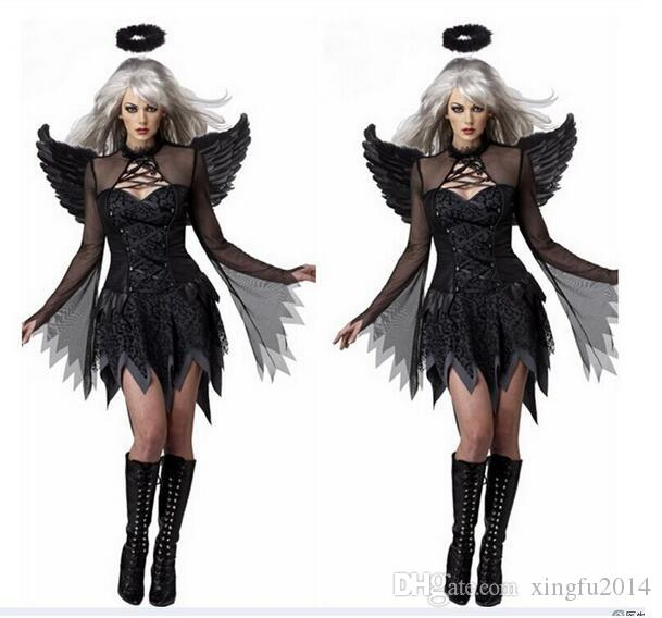 2017 New Women Fantasia Halloween Costumes Fantasy Cosplay Party Fancy Dress Adult Fallen Angel Costume With Angel Wings