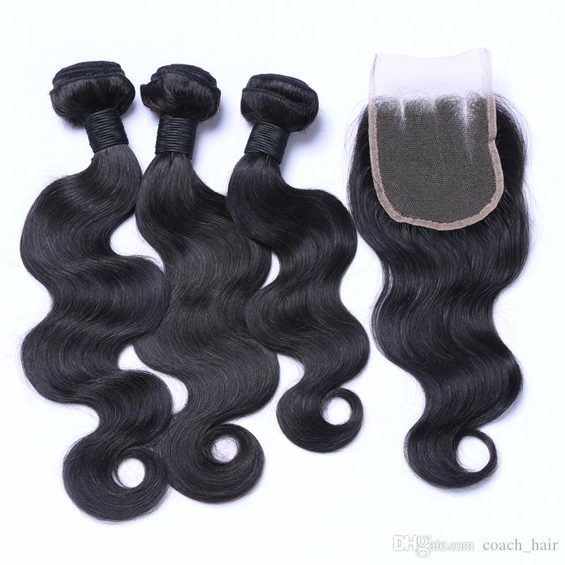 8A Three Part Lace Closure With Hair Bundles Peruvian Body Wave Human Hair Weaves With 4X4 Top Closure 340G