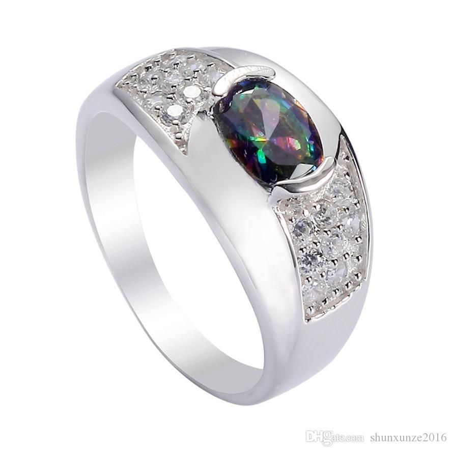 925 sterling silver Promoção conjunto de coração anel / brinco / pingente Nobre Generoso S-ssz # 6 7 8 9 Rainbow Fogo Mystic Cubic Zirconia Punk