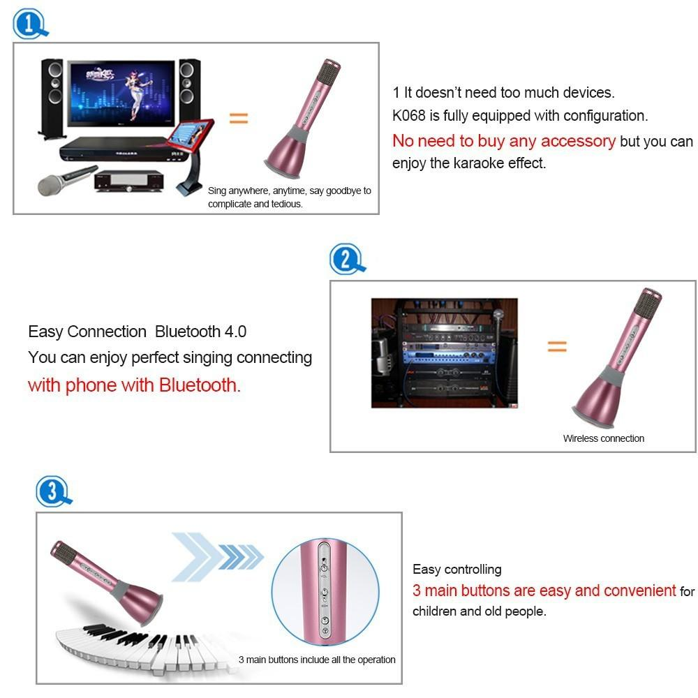 2016 K068 Wireless microphone 2 in 1 Wireless bluetooth speaker with microphone Home KTV Player and mini karaoke player for computer ipad
