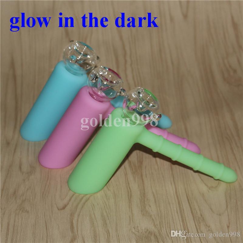 glow in the Dark Tubo in silicone con percolatore Recycler Bong in silicone con percolatore Beccuccio in vetro da 19mm nettare in silicone