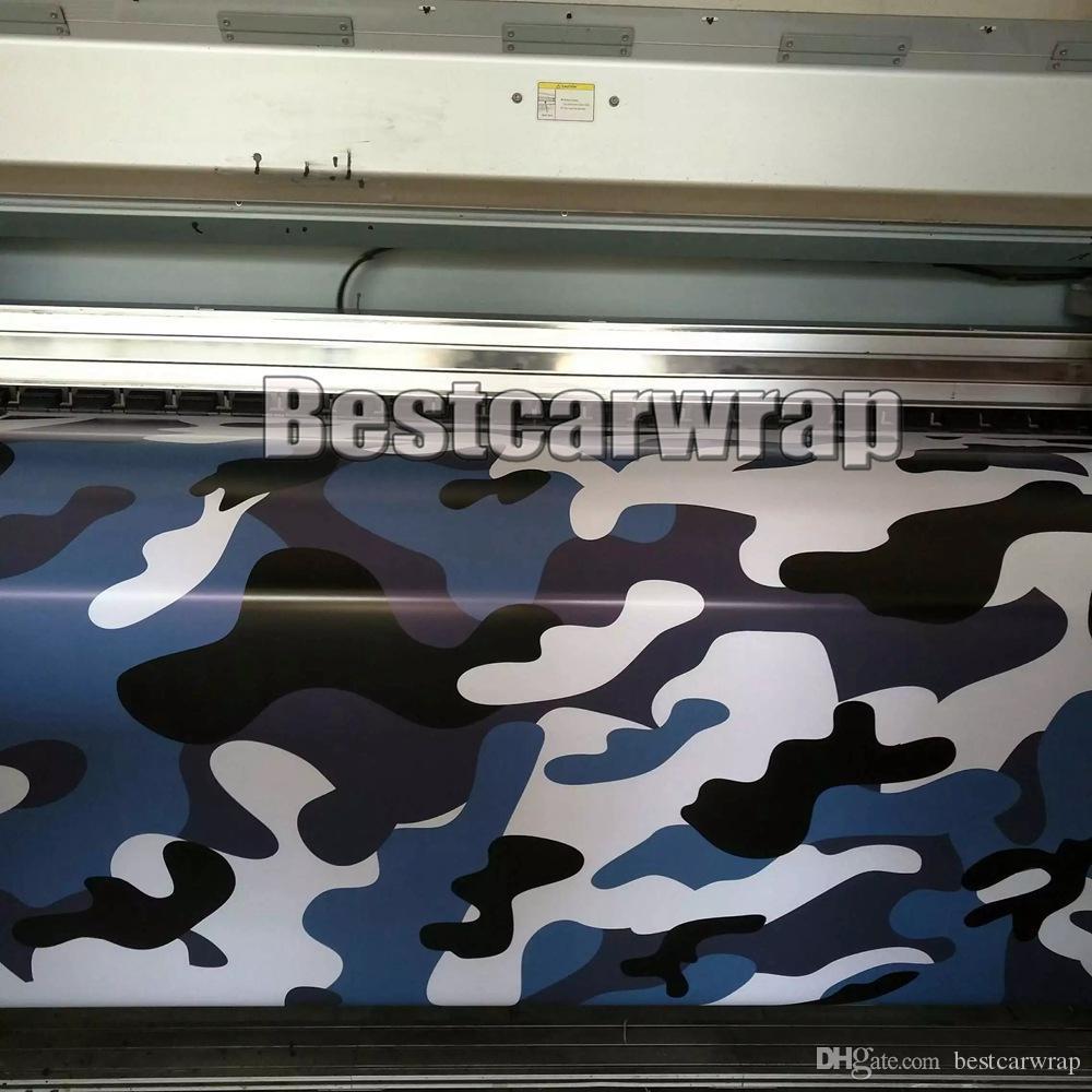 Blu bianco nero grande Camo Vinile Car Wrap Styling con Air Rlease Gloss / Matt blu artico Camouflage rivestimento adesivi1,52x 10m / 20m / 30m