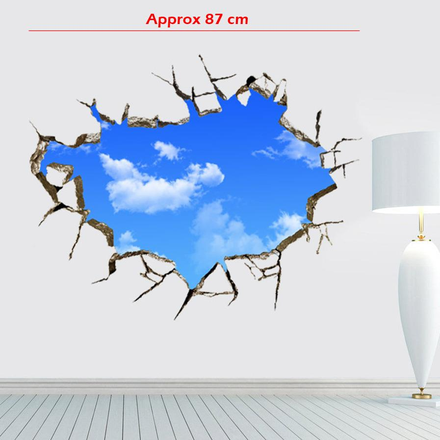 Vivid Window Hole Landscape Blue Sky White Cloud 3D Wall Sticker, Creative Home Decal For House Living Room Roof Decals Stickers