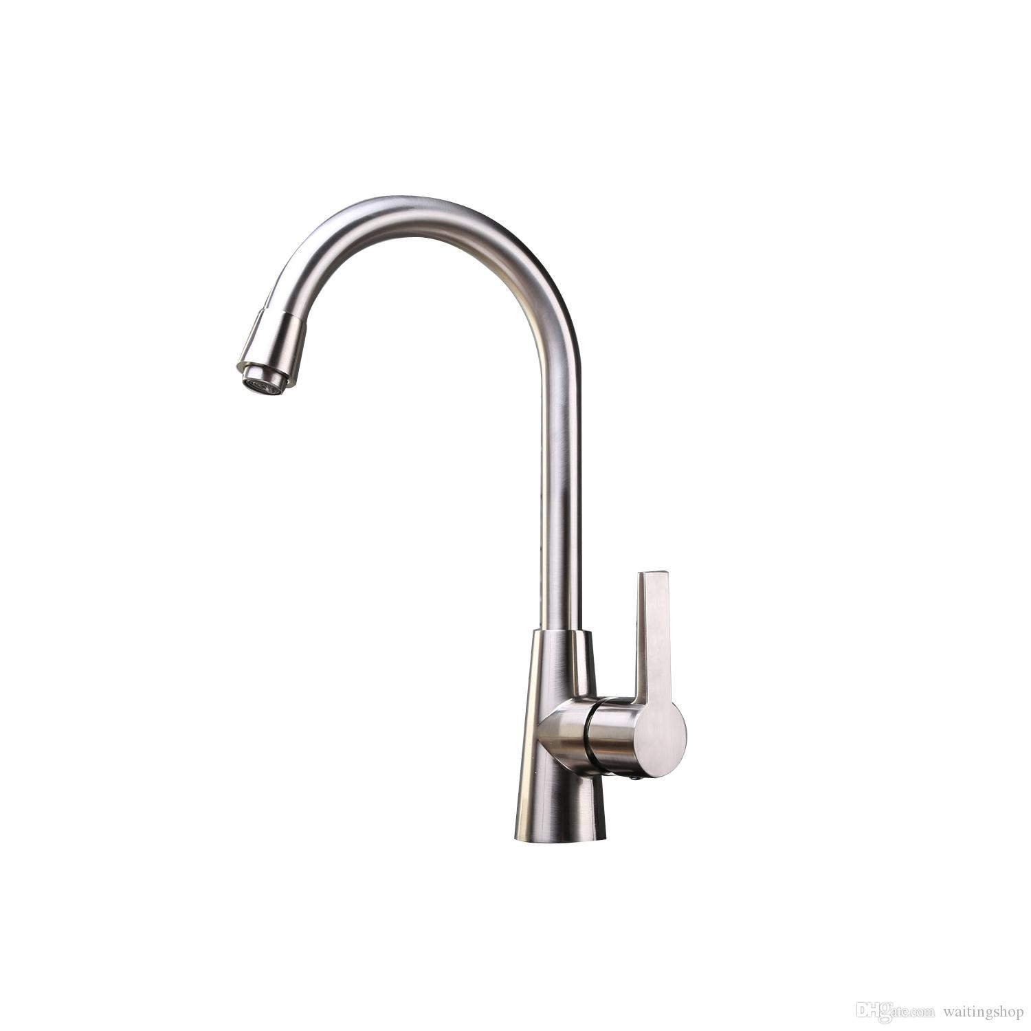2018 Brushed Nickel Kitchen Faucet Contemporary One Hole Single ...