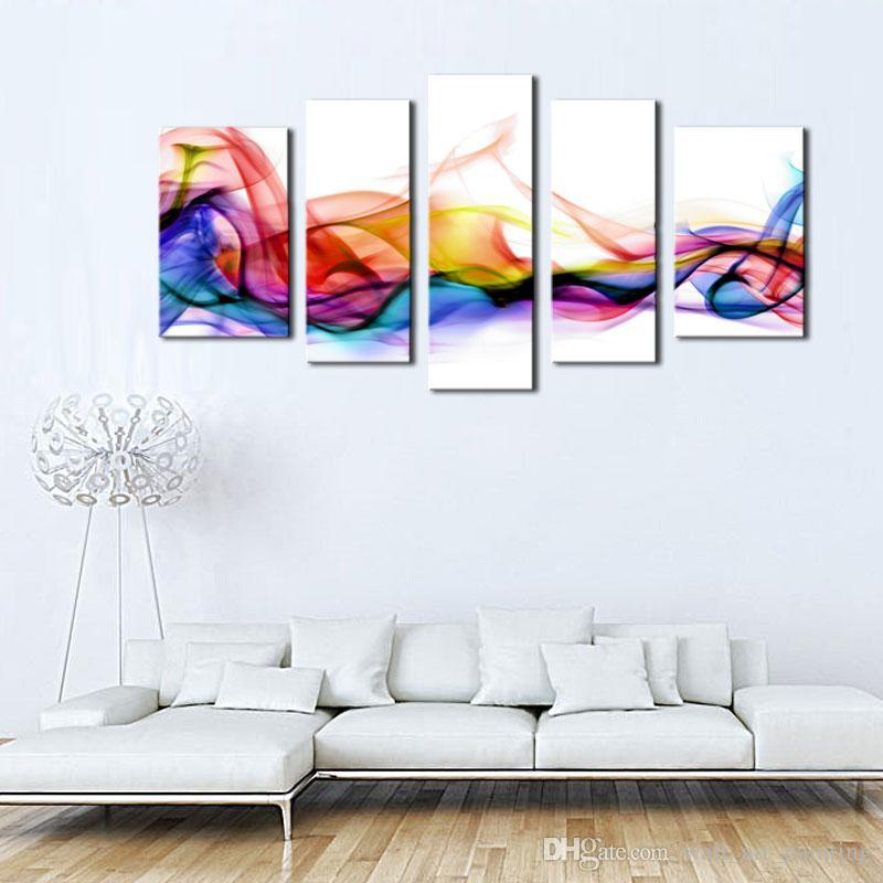 5 Picture bination Wall Art Fresh Look Color Abstract Smoke