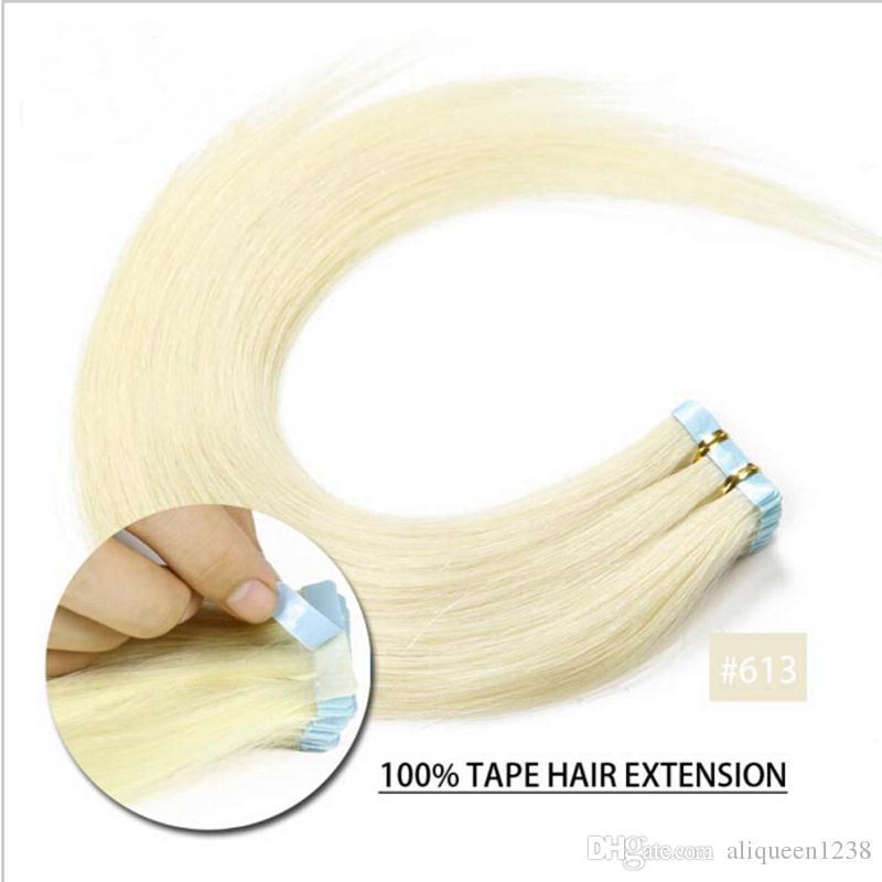 Top quality 2.5g pc, sacchetto colla trama della pelle PU nastro in estensioni dei capelli umani 14-24 pollici estensione dei capelli indiani