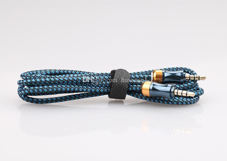5 farben männlich zu männlich stereo auto nylonschnur jack geflochtene audio kabel aux audio kabel cucurbit hilfskabel für pc tisch ipod