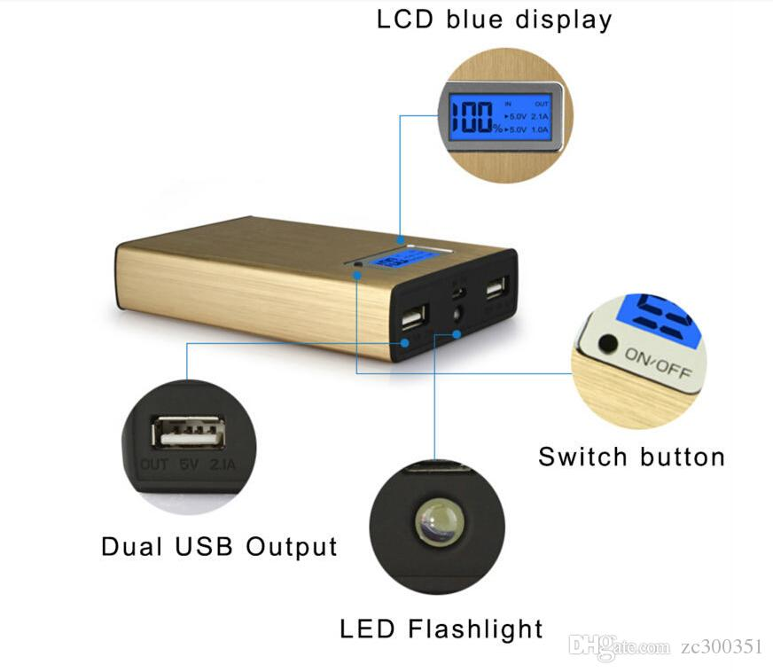 LCD Display 20000mAh Power Bank 2 USB External Battery With LED Portable Power Banks Charger For iPhone 6s Samsung s6 Android Phones