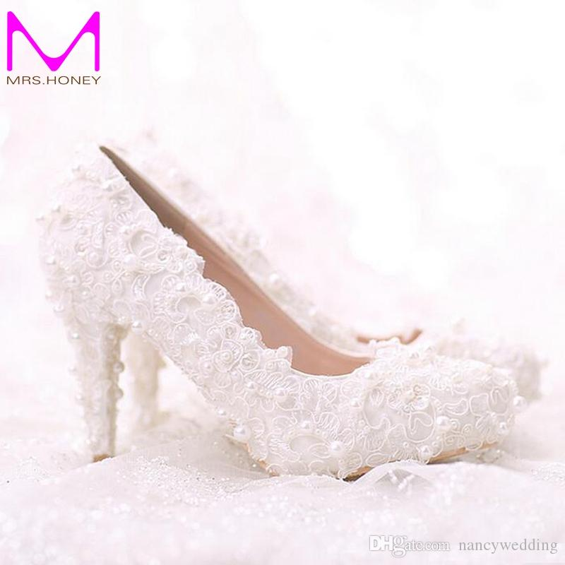 Comfortable Flat Heel White Pearl Sweet Lace Bridal Shoes Bouquet Wedding Party Dress Shoes Latest Beautiful Women Shoes