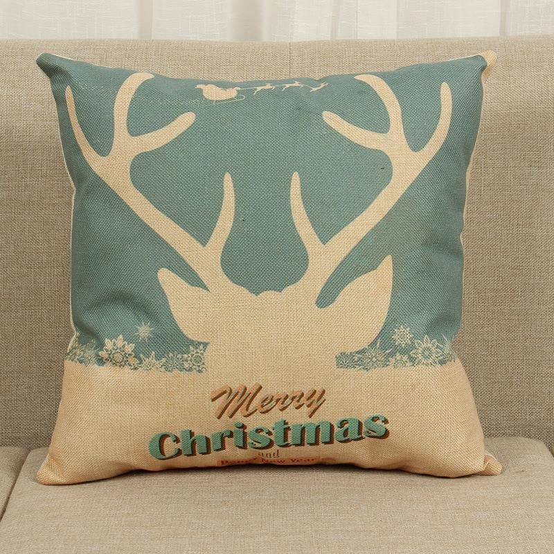 45cm Merry Christmas Deer Gift Cotton Linen Fabric Throw Pillow 18inch Fashion Hotal Office Bedroom Decorate Sofa Chair Cushion