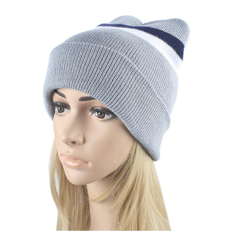 e521e08e579 2016 Fall Winter New Women S Fashion Striped Knitted Hat Hedging Cap Woolen  Hats Knitting Warm Skullies Beanies Caps For Mens Slouch Beanie Ski Hats  From ...