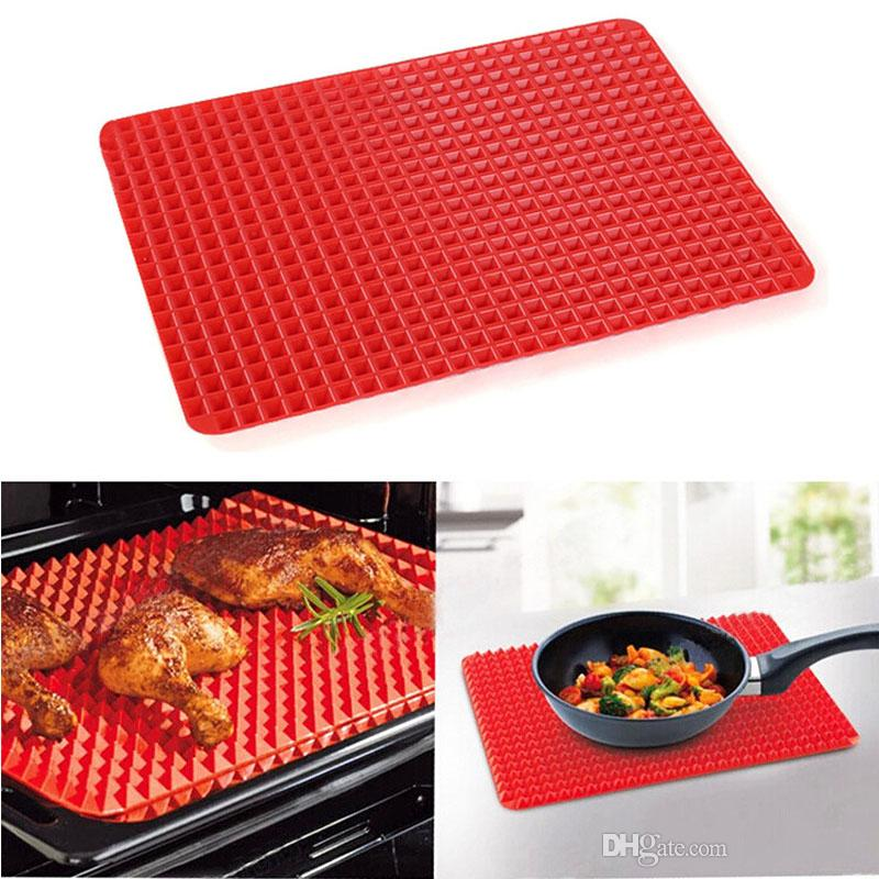 Silicone Cooking Mat Cozinha utensílios domésticos Fat Reduzir Pyramid texturizados Non Stick Pan microonda Baking Pad ferramenta da cozinha