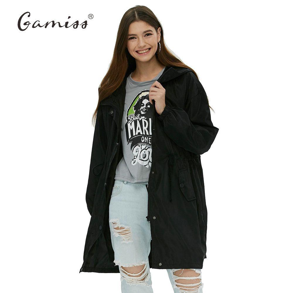 Gamiss Trench coat da donna Tasche volanti Cappotti allentati Casual Pieghe Vita sottile Tendenza Giacca a vento Capispalla Donna Plus Size Trench Coat