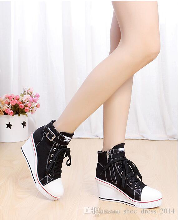 Black White Women Shoes Platform 2016 Hidden Wedge Boots Shoes For Women High Heel Top Casual Shoes Ladies 35-43
