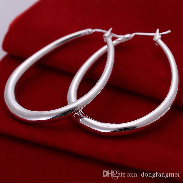 العلامة التجارية الجديدة الأبعاد على شكل حرف U الفضة الاسترليني المجوهرات مطلي قلادة للنساء DN080، شعبية أقراط فضية 925