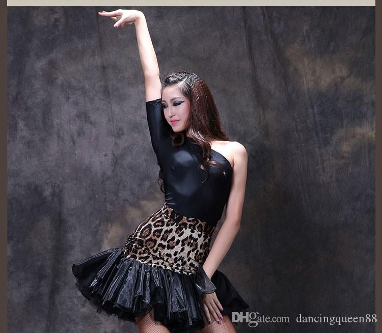 Vestidos de baile de salón latino para mujer Rojo / Negro / Leopardo Ropa de rendimiento para Cha Cha Dance Falda de animado plisado