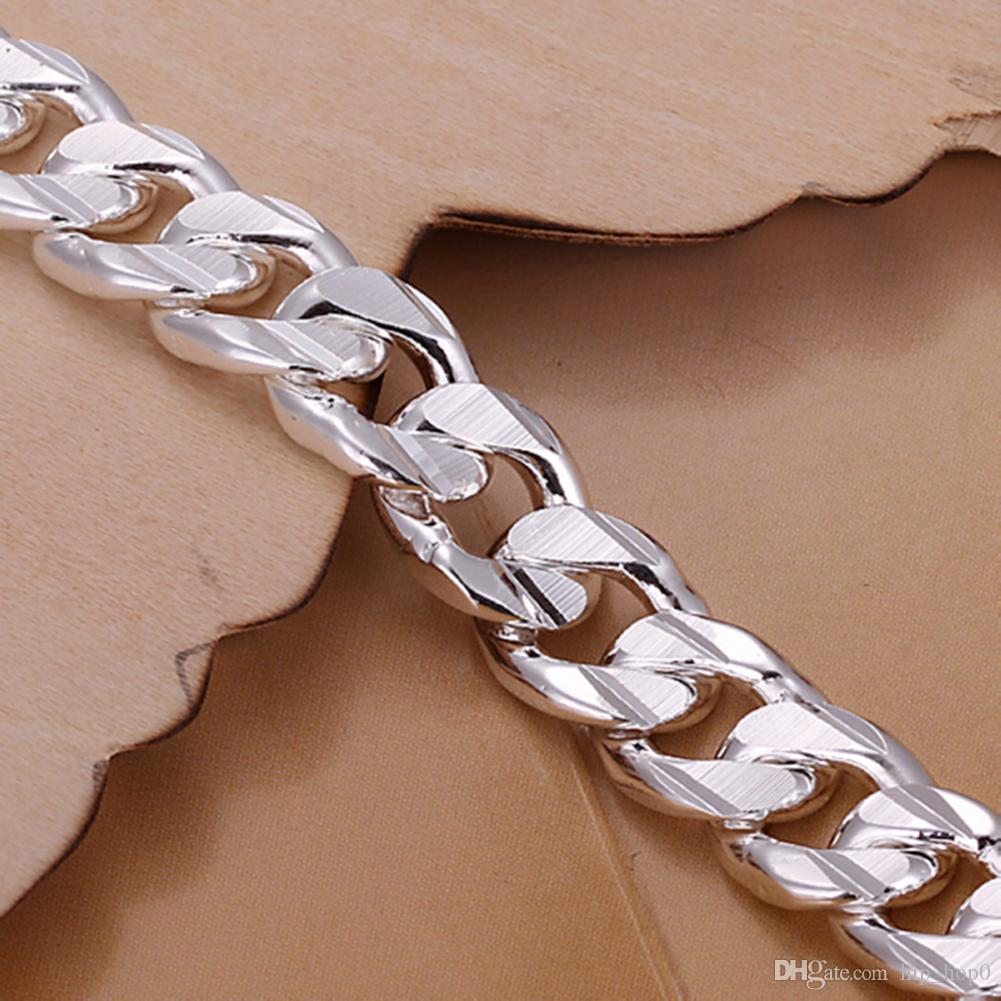 Silver Fill Fashion Bracelet Men/Boys 925 Sterling Silver Jewelry Curb/Figaro Chains Geometric Modeling Silver Bracelet