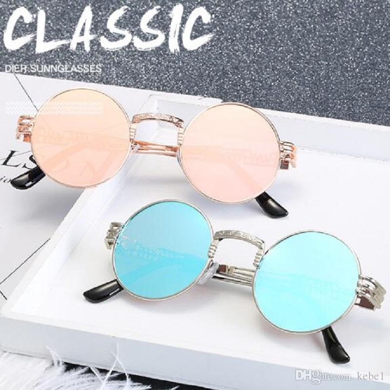 f0643e6ccdb Retro Round Steampunk Sunglasses UV400 Protection Lunette Metal ...