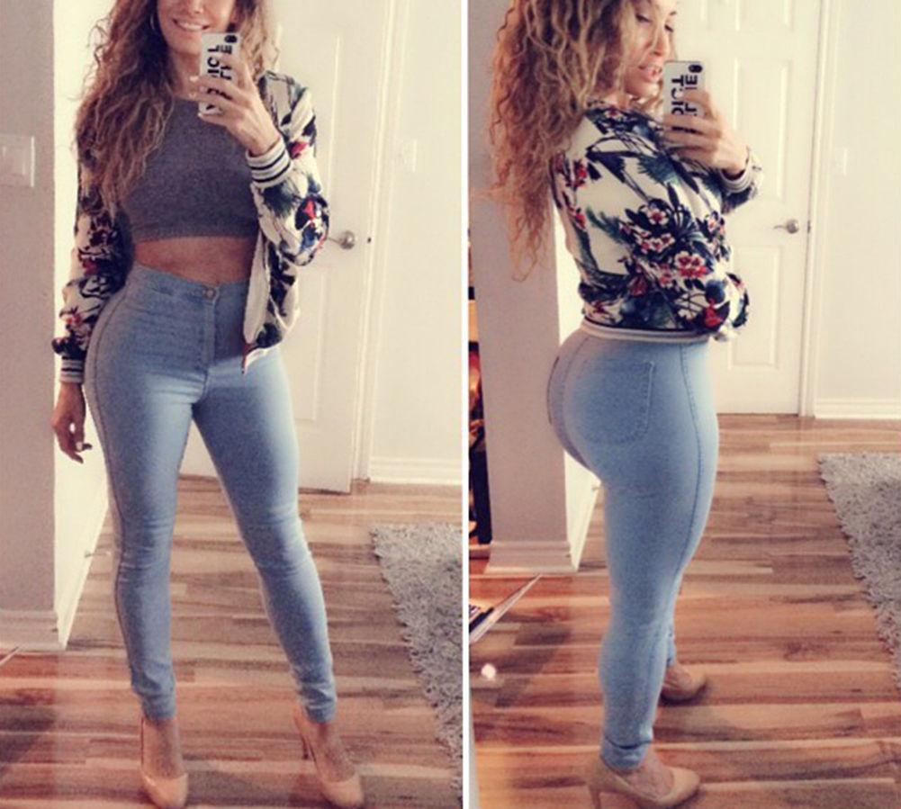 2017 Sexy Women Fashion High Waisted Jeans Soft Skinny Stretchy ...