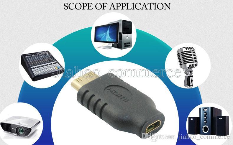 Toptan 300 Adet / grup Yeni HDMI Erkek Mikro HDMI Kadın D Tipi hdmi 1.4 A tipi Erkek Kablo Adaptörü dönüştürücü