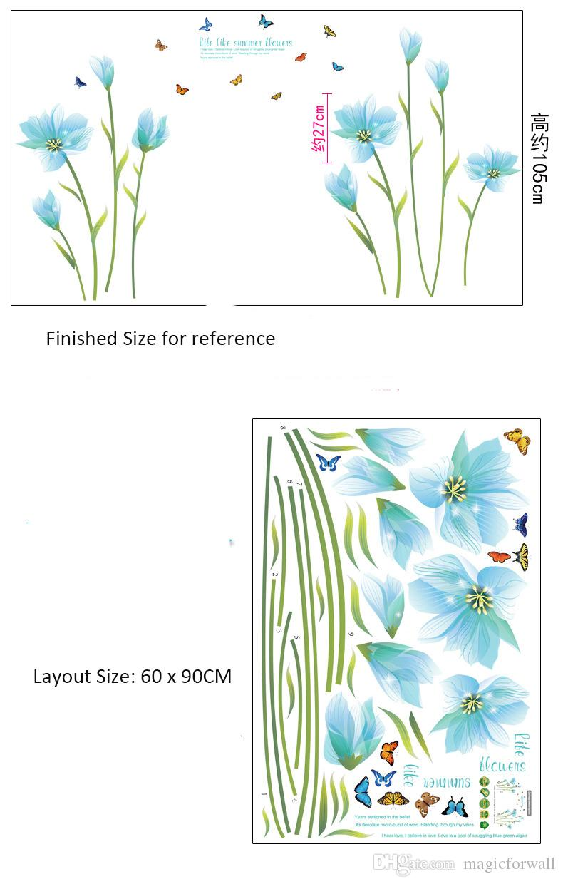 Romantic Lily Wedding Room Decoration Wallpaper Poster Blue Flowers Wall Stickers Home Decor Wall Quote Saying Wall Decals DIY Wall Poster