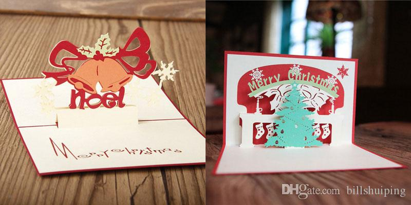 Wholesale Creative Kirigami & Origami 3D Pop UP Greeting & Gift Christmas Cards Merry Christmas Tree & Gifts