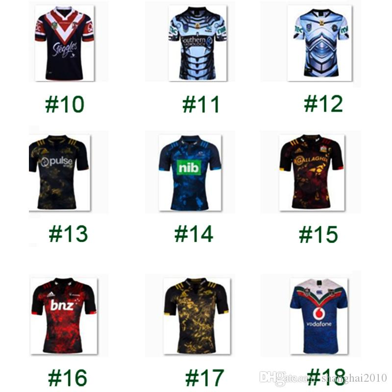 2017 Rugby League New Zealand Super Rugby Union Crusaders High-temperature heat transfer printing jersey Rugby Shirts