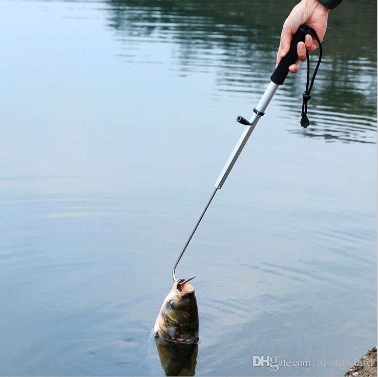 Contrôleur de poisson escamotable Contrôleur de poisson en acier inoxydable Fish Grip Fishing Tackle Tool pêche en bateau YQHW