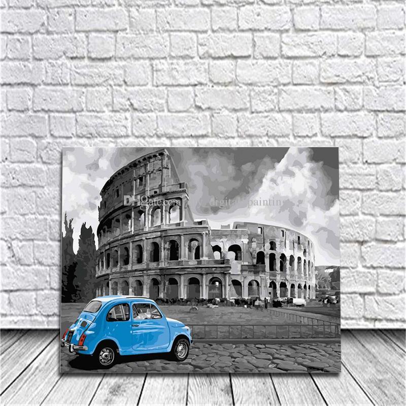 Compre Coliseo Romano Enmarcado Pintura Diy Por Números De Dibujo