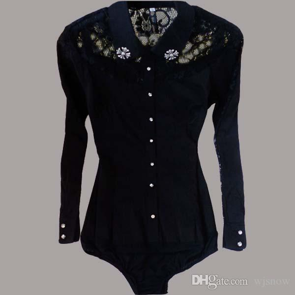 Women Sexy Lace Shirts Bodysuit Blouse Long Sleeve OL Slim Tops Clothing S/M/L/XL