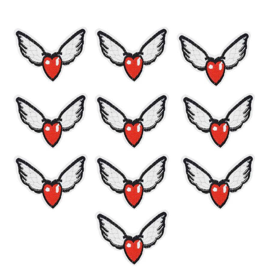 10 Stücke Flügel Herzform Stickerei Patches für Kleidung Eisen Patch für Kleidung Applique Nähen Zubehör Aufkleber auf Kleidung Eisen auf Patch