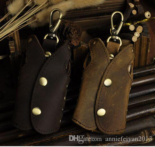 Large Capacity Personality Cute Creative Horse Genuine Leather Key Rings Mobile Phone Chains Car Keychains Remote Controller Bag