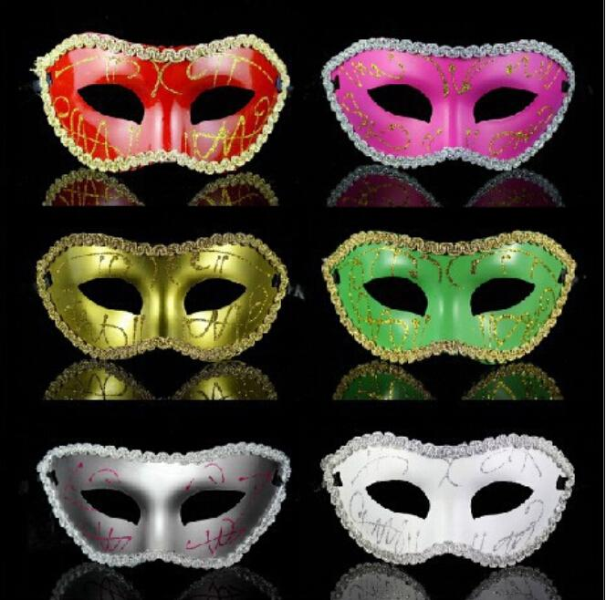 2016 Hot sales coloured drawing or pattern Bud silk Gold/silver Package edge Flat head mask party mask 10pcs/lot