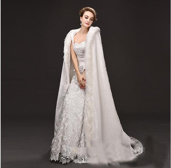 2017 New Cotton Long Marching White/Ivoey Bridal Cloak Hooded Wool Bridal Bolero Floor Length Wedding Coat For Bride