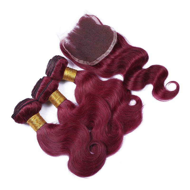 버진 브라질 Burgundy 3Bundles 클로저 함께 99J 와인 레드 브라질 인간의 머리카락 웨이브 바디 웨이브 레이스 클로저 4x4